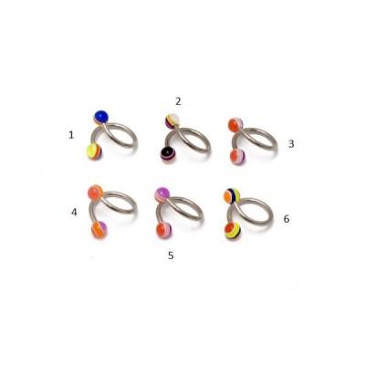 Piercing, twister, UV fényben világító golyókkal